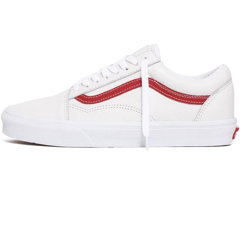 Image of Leather Pop Old Skool Sneakers True White / Chili Pepper Red