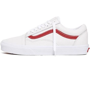 Leather Pop Old Skool Sneakers True White / Chili Pepper Red