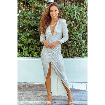 Silver Sequin Maxi Dress with Ruched Side