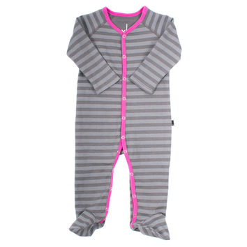 Organic Striped Orchid Footed Romper