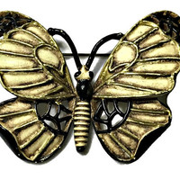 Butterfly Brooch Enameled Black Antiqued White Signed Florenza