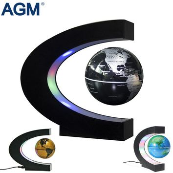 C Shape LED Floating Tellurion Globe Magnetic Levitation Desk Lamp Globe World Ball EU US Plug Light Kid Gifts Home Decor Toys