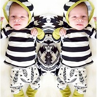 2pcs Toddler Kids Baby Boys Girls Clothes Set Hooded T-shirt Tops Pants Casual Clothing Feather Outfit Sets