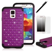 S5 Case, SGM Hybrid Gel Rhinestone Bling Armor Case Cover for Samsung Galaxy S5 / SV / i9600 (Verizon, AT&T, T- Mobile, Sprint Versions) With Black Stylus and Screen Protector