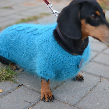Dog Sweater Clothes Hand Knitting turquoise fluffy cable dachshund medium dog Mohair