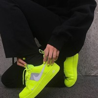shosouvenir Nike Air Force 1 Fluorescent Green Couple Sports Shoes