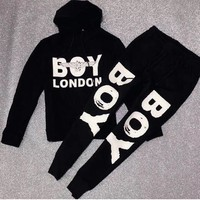 """Boy London"" Autumn Winter Fashion Men Women Casual Long Sleeve Hoodie Top Sweater Pants Trousers Two-Piece Set Black"