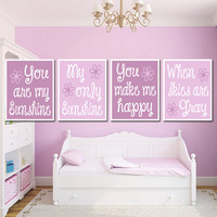 LILAC You Are My Sunshine Wall Art Girl Artwork NURSERY Cute Purple Lavender Shades Quote Crib Song Set of 4 Prints Baby Crib Decor