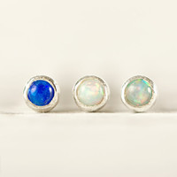 Nose Stud Nostril Ala nose Piercing  Earring Sterling Silver Blue Opal Screw Stud Body Jewelry  Bohemian Fashion Indian Style - NSE014