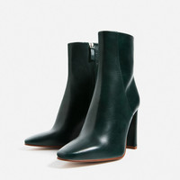 LEATHER HIGH HEEL ANKLE BOOTS New