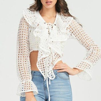 White Bell Sleeve Tie Front Lace Crop Top