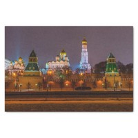 """Moscow Kremlin cathedrals at night 10"""" X 15"""" Tissue Paper"""