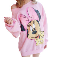 2016 Women Sweatshirts  hoodies cartoon 3d Sweatshirts suits casual cute harejuku Sweatshirts winter hoody  mickey pullover