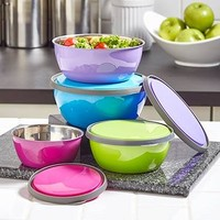 Colorful 8 Piece Dishwasher Safe Stainless Steel Mix & Storage Bowl Set, Mixing Bowls with Lids