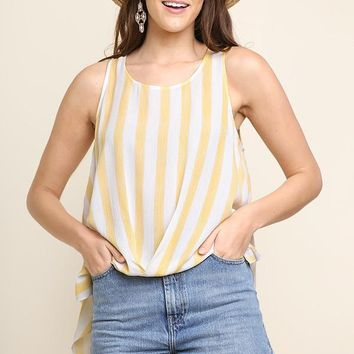 Honey Striped Sleeveless Twist Front Top