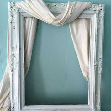 """Ornate Frame Shabby Chic Picture Frame Large Baroque Collage Vanity Mirror Gesso Wedding Photo Prop 31 1/2 x 25 1/2"""""""