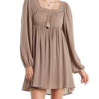 Taupe Crochet-Trim Babydoll Peasant Dress by Charlotte Russe