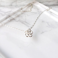 Silver Rose Necklace, Sterling Silver Rose Necklace, Silver Flower Necklace, Flower Jewelry, Tiny Necklace, Dainty necklace, Gift Jewelry