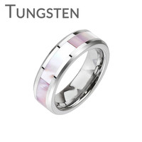 Seashell Circle - FINAL SALE LIMITED QUANTITY Sophisticated Design Mother Of Pearl Center Band Tungsten Carbide Comfort Fit Ring