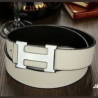 Hermes tide brand fashion wild belt White