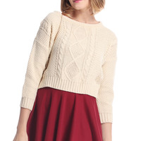 ROMWE   Cable Knit Cream Short Jumper, The Latest Street Fashion