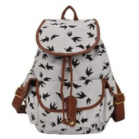 Concise Color Block and Printed Design Women's Canvas Satchel