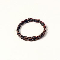 Mens Copper Ring, Abstract Copper Ring, Antiqued Copper Wire Ring, Gift for Him, Mens Jewelry, Unisex Ring, Unique Birthday Gift