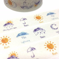 weather washi tape 7M weather themed climate girl diary sticker tape sunny day rainy day lighting daily life weather planner sticker gift