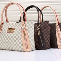 """Louis Vuitton"" Retro Fashion Multicolor Tartan Logo Tote Single Shoulder Bag Women Temperament Large Handbag"