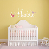 Personalzed Name Wall Decal, Bird Wall Decal, Baby Nursery Decal, Nursery Name Decal, Monogram Decal, Personalized Decor