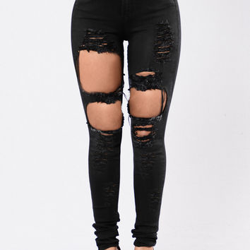Destroyed High Waisted Skinny Jeans
