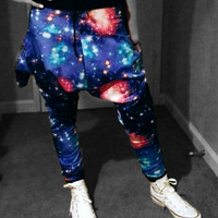 SpaceBalls Space Jam Galaxy Harem DROP CROTCH Pants With Pockets Limited Edition Xsmall Small Medium or Large XLarge
