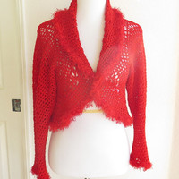 Fancy red circle shrug, luxury crochet convertible sweater shrug, shawl collar outerwear