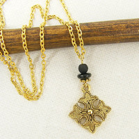 Gold Tribal Necklace - Ornate Cross Black Bead Metal Pendant Jewelry with 18 inch Chain