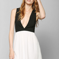 Sparkle & Fade Deep-V Fit & Flare Dress - Urban Outfitters