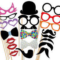 Best Wedding Photo Booth Prop - 20 Piece GLITTER Set  - Mustache Glasses Lip Hat Bow Tie