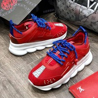Versace Chain Reaction Popular Women Men Leisure Running Sneakers Sport Shoes Red