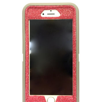 iPhone 6 Plus OtterBox Defender Series Case Glitter Cute Sparkly Bling Defender Series Custom Case  gray / pink