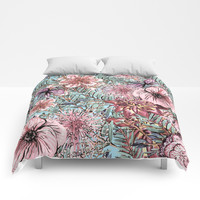Tropical Pastel Pink Flower Hibiscus Garden on #Society6 Comforters by UtArt