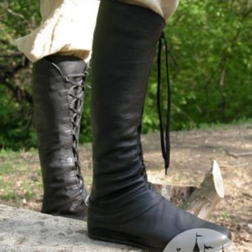 Natural leather handmade high medieval boots for sca and reenacment :: ArmStreet