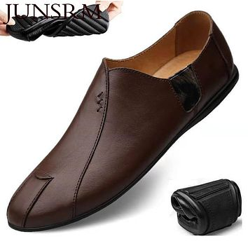 JUNSRM Leather Men Casual Shoes Luxury Brand 2020 Mens Loafers Moccasins Breathable Slip on Lazy Driving Shoes Plus Size Hombre