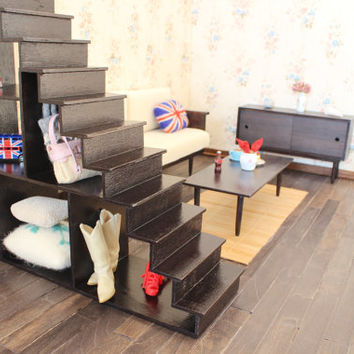 1/6 scale Staircase /Bookcase for dolls (Blythe, Barbie, BJD, Momoko). Modern style.