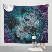 Deer in the mountain Wall Tapestry by Haroulita