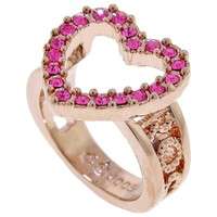 ROCAWEAR Pink Austrian Crystal HOLLOW HEART Rose Tone Ring