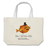 Sir Fishy Mustached Fish Bags from Zazzle.com