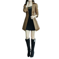 Khaki Lapel Collar Double Breasted Bow Waist Long Sleeve Trench Coat