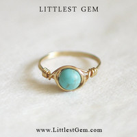 Turquoise ring - wire wrapped jewelry handmade - wire wrap ring - unique rings - custom