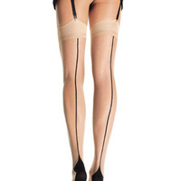 Leg Avenue Nude And Black Contrast Cuban Heel Stockings-O/S - Unique Vintage - Prom dresses, retro dresses, retro swimsuits.