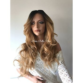 Dark Blond Ombre'  Human Hair Blend Multi Parting Lace Front Wig - Catalina