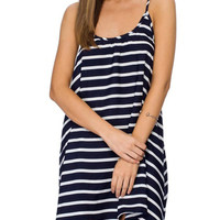 Blue Stripe Spaghetti Strap Backless Loose Mini Dress